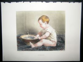 After Lobrichon 1874 Hand Col Art Journal Print. Bubbles, Children